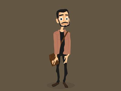 Morteza flat design character design illustration vector student flat character beard
