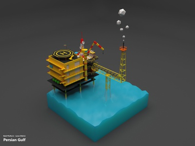 Balal Platform gas low poly isomatric persian gulf