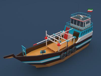 Lenj lenj boat ship low poly isometric persian gulf bushehr iran