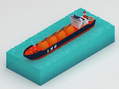 LNG Carrier gas oil tanker carrier ship vehicle v-ray 3dsmax 3d design digital 3d 3d art 3d lowpoly isomatric