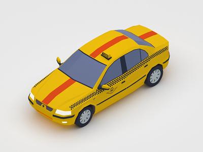 Samand Taxi - Isometric 3d design 3d 3d art vector isomatric v-ray digital 3d car vehicle low poly design iran 3dsmax illustration isometric