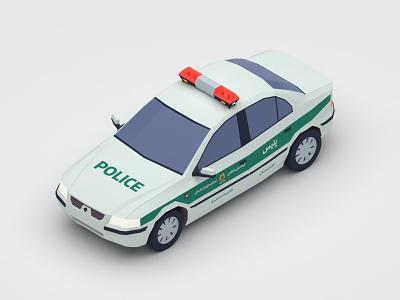 Samand Police digital 3d car 3d design 3d art 3d v-ray vector vehicle iran 3dsmax low poly illustration isometric