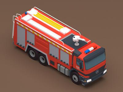 Benz Fire Truck firetruck fireman fire truck car digital 3d 3d design 3d art 3d v-ray vehicle 3dsmax iran low poly isometric