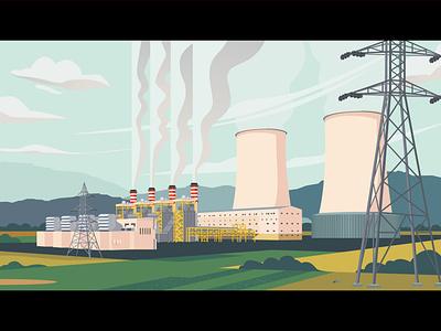 Power Plant landscape vector illustration vector illustration steam iran iilustration power plant power electric