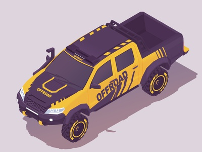 4x4 Truck pickup all terrain hilux 4x4 3d low poly isometric shutterstock truck offroad vector illustration
