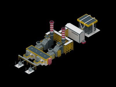 Low poly & Isometric PowerStation industrial genaveh bushehr gas power station power vray 3d 3dsmax low poly isometric iran