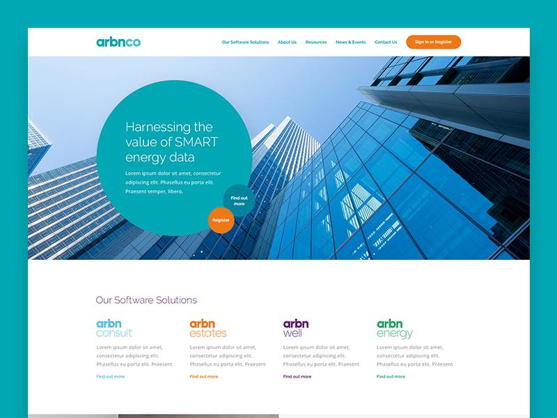 Arbnco Homepage circles teal web design website homepage design digital design