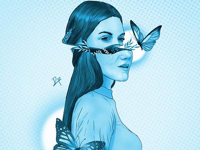 Abstract Girl Floral Butterfly digital illustration digitalart illustration girl art digital painting digital art debaditya patra art artwork