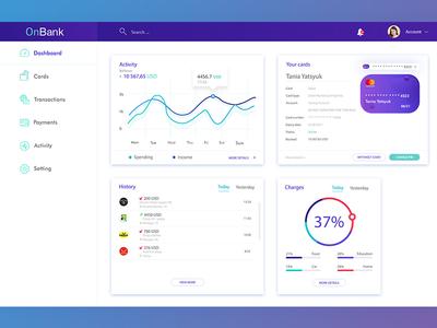 Dashboard/OnBANK IOS Application uiux bank dashboard dribbble