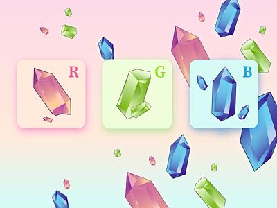 RGB Crystals gameicon vector crystals gems ui icon gameui