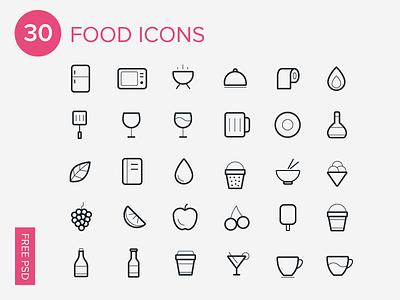 30 Foods Icons-Free Icon Set icon set icon icons food icons free freebie app line ios7 ui ux