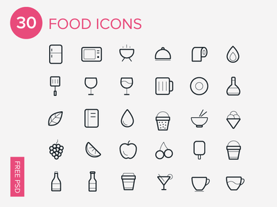 30 Foods Icons-Free Icon Set
