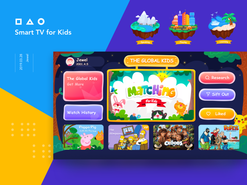 Kids Tv dribbble digital drawing kid lit kid art kid app smart tv website web ui icon app design