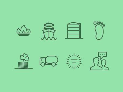 Icons gasring silo transportboat footprint grass meter conversation icons streamline set truck foot