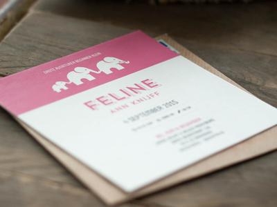 Birth card design elephants pink baby birth card screenprint
