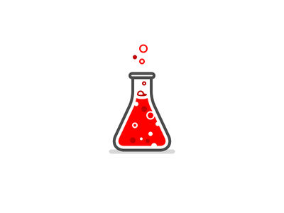 Lab logo icon clean red bubbles lab chemistry