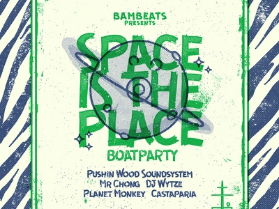 Space Is The Place  - Poster planet boat space screenprint icons texture skillshare grunge poster