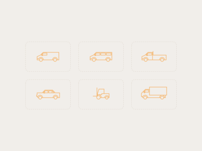 Car icons icons iconset pickup van car truck cars stroke line icons