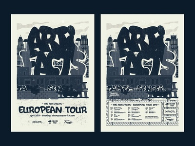 The Artifacts - European Tour 2017 hip hop graffiti artifacts texture grunge poster