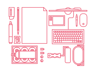 Tools of the trade sharpener marker tablet paint spraycans eraser murals branding web design icons iconset