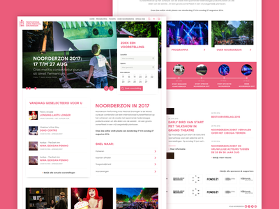 Noorderzon Festival 2017 webdesign ui ux website interface clean pink iwink web festival
