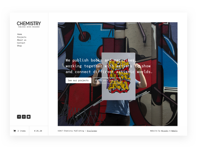 Chemistry in progress homepage clean web design interface ux ui publisher