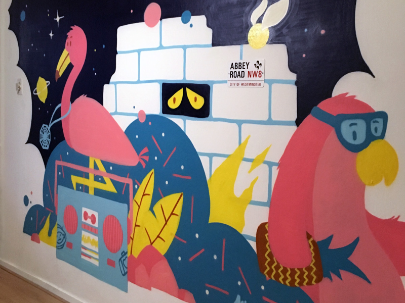 Mural commission wallpainting commission yellow blue mural wall-e flamingo penguin pink