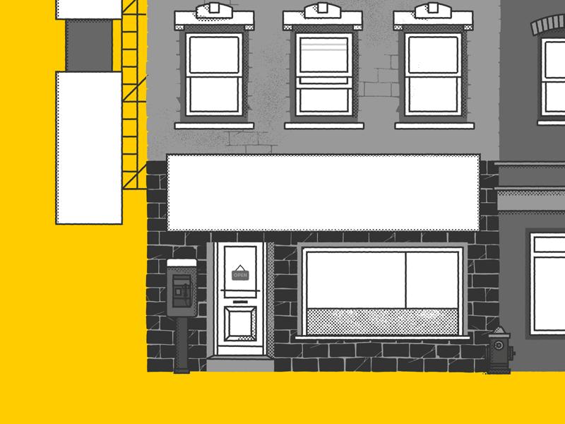 Illustration in progress textures shop phone poster hip hop building halftone illustration