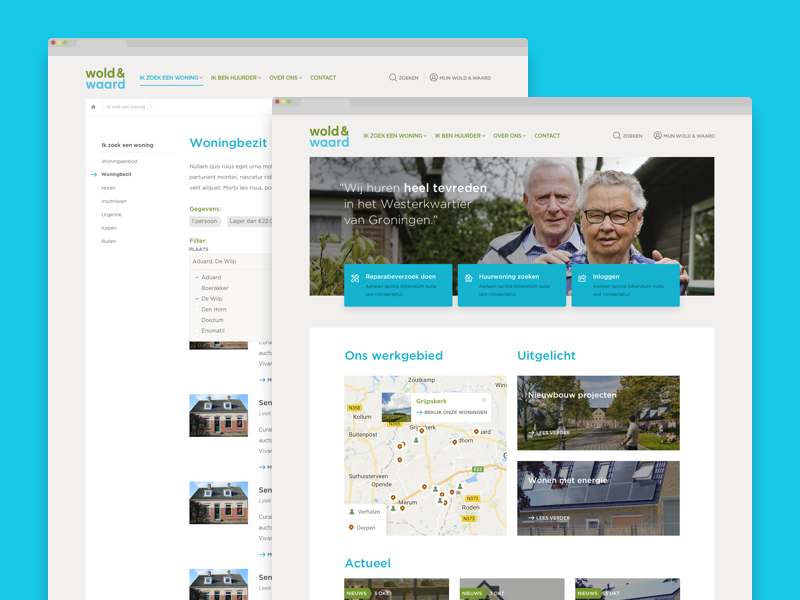 Wold & Waard - housing corporation sketch web design iwink corporate housing responsive modern interface ux ui clean