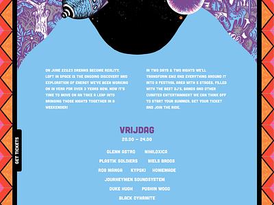 Loft in Space Festival website user interface ui design colorfull responsive web design website festival