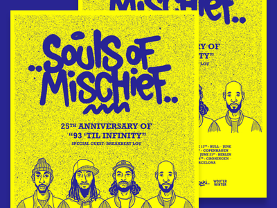 Souls of Mischief - European Tour 2018 typography handlettering art direction illustration spraypaint poster tour rap hip hop