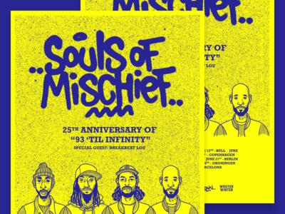 Souls of Mischief - European Tour 2018 typography handlettering art direction illustration spraypaint poster tour rap hip hop