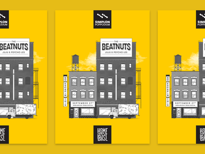 Homebase presents: The Beatnuts - poster concert print skyline hiphop halftones yellow poster illustration