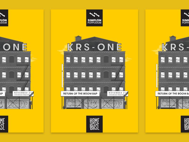 Homebase presents: KRS-One - poster yellow skyline print concert poster poster illustration hiphop halftones concert