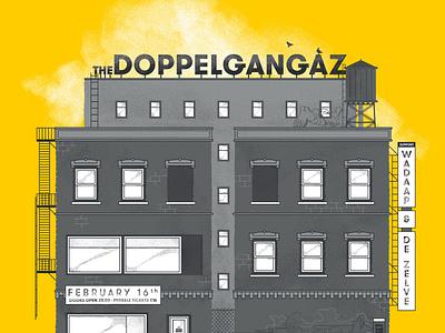 Homebase presents: The Doppelgangaz - poster poster doppelgangaz hiphop halftones grunge skyline building yellow