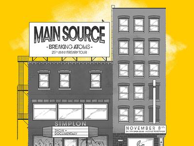Homebase presents: Main Source main source rap concert poster grunge halftone hiphop yellow
