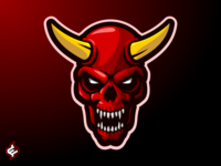 ( ROYALTY FREE ) Skull Devil Mascot Logo Template