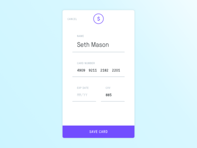 CC Payment purple mono ios form payment credit card