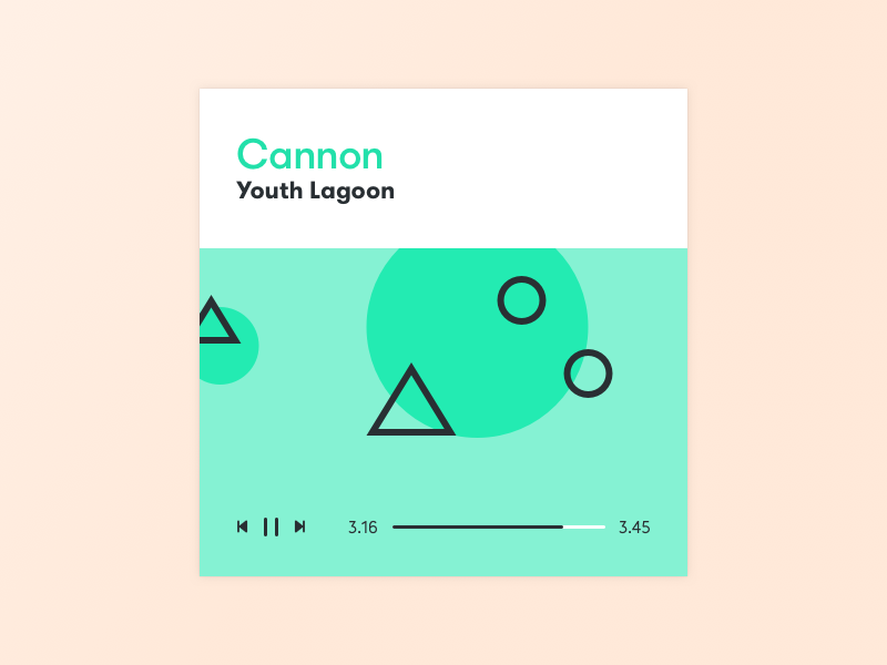 Music player green record pause album artist music app ui music player geometric gradient solid color
