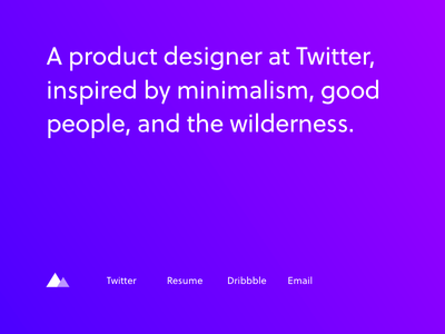 Landing page update simple geometry triangle purple sans serif soleil portfolio gradient minimal