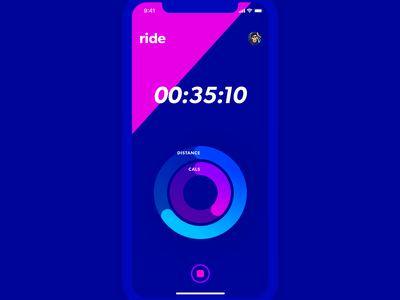 Ride bike cycling ap exercise app ui ux blue pink distance exercise timer app running