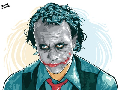 "Joker "" Heath Ledger "" vectorart"
