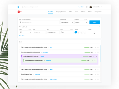 People Managment Software - Goals Page saas search enterprise b2b task manager dashboard people okr management employees advanced search browse app animation goals tasks advanced