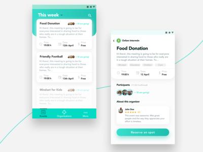Non Profit Events App Concept