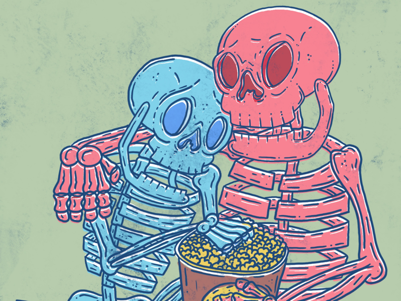 Movie Night skeleton procreate illustration