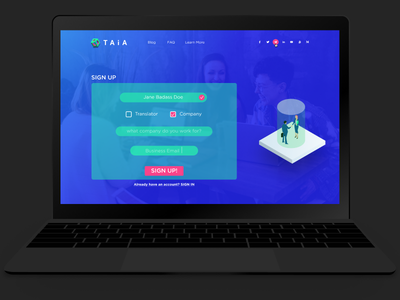 Signup Screen ico ethereum taia isometric signup daily ui blockchain