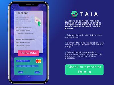 TAIA Mobile Checkout pitch ico ethereum taia isometric checkout daily ui blockchain