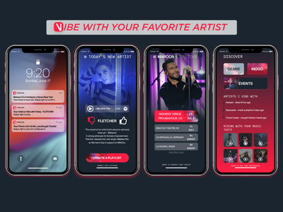 Vibe App for Viberate.com spotify notifications fletcher maroon 5 iphone x music discovery music app mobile design hackathon blockchain