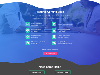 Previews of the new TAIA.io website | features section features in progress website taia figma design coding