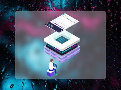 API Illustration for a GraphCMS landing page backend as a service graphql cms graphcms isometric illustration affinity designer procreate isometric web  app graphql api